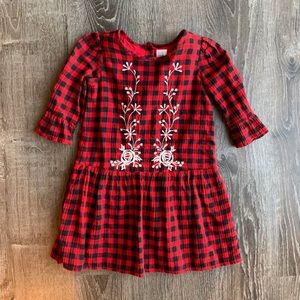 GAP red plaid embroidered flannel dress